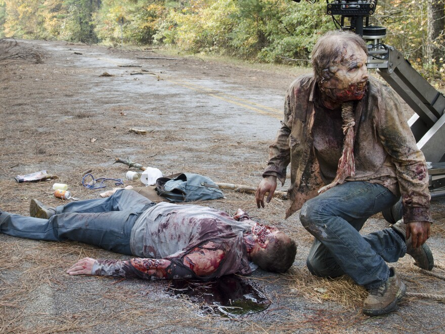 Special effects blood flows freely on the set of <em>The Walking Dead. </em>