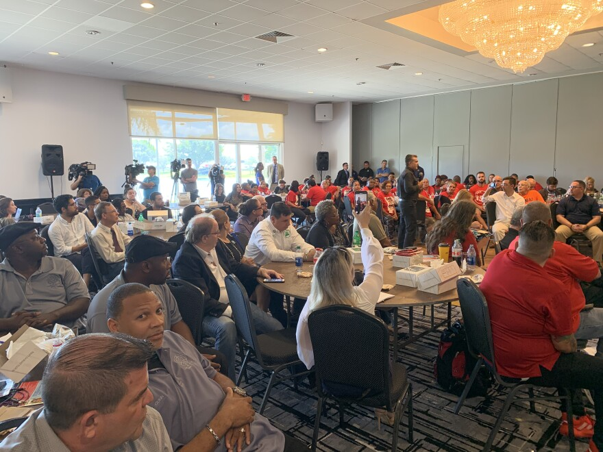 More than 100 union workers and activists on Monday attended the first debate of the 2020 Miami-Dade County mayoral race.