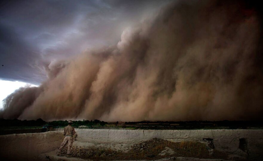 A photo shows a storm blowing over the Sangin district in Afghanistan's Helmand province.<strong> </strong>