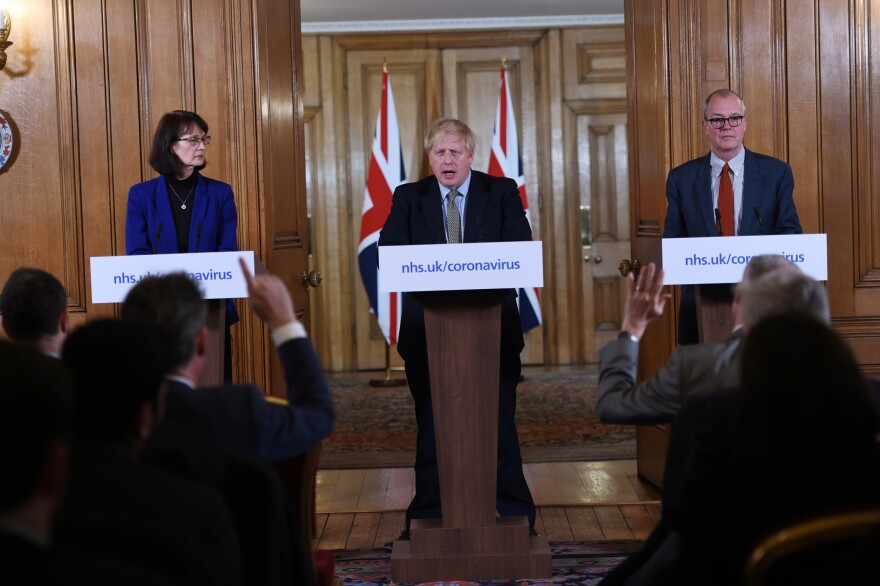 British Prime Minister Boris Johnson, Deputy Chief Medical Officer Dr. Jenny Harries and Chief Scientific Adviser Sir Patrick Vallance at a March news conference on the pandemic. That month, Harries stated that the World Health Organization recommendation for all countries to test extensively was meant more for lower income countries than for wealthy nations. The U.K. later changed its view.