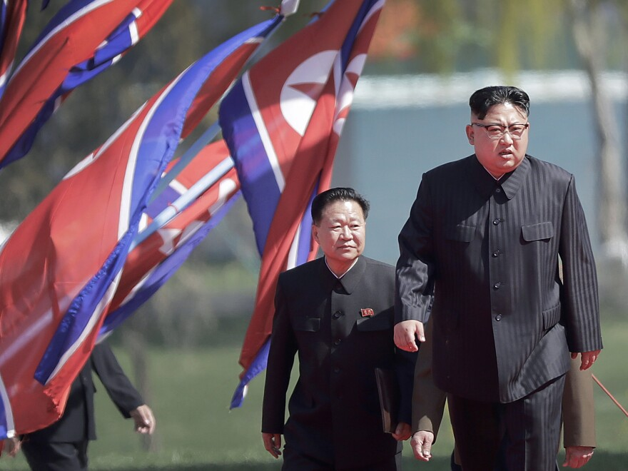 North Korean leader Kim Jong Un, right, and Choe Ryong Hae, vice chairman of the central committee of the Workers' Party, arrive for the official opening of the Ryomyong residential area, in April 2017 in in Pyongyang, North Korea.