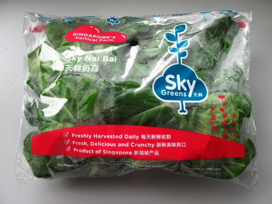 Sky Greens' leafy greens, such as <em>nai bai</em> (similar to bok choy), cost about 10 percent more than vegetables from Malaysia and are sold through FairPrice, a local supermarket chain.