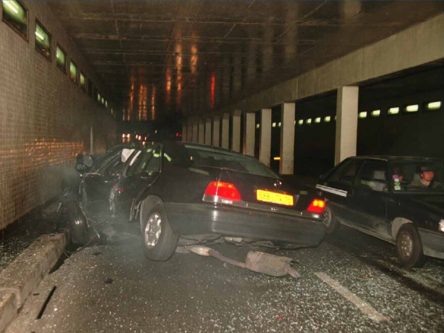 A photo taken in the Alma Tunnel in Paris on the night of Aug. 31, 1997, shows the smashed Mercedes in which Princess Diana and her companion Dodi Al Fayed were passengers.