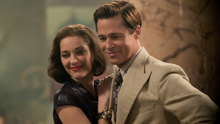 Brad Pitt plays Max Vatan and Marion Cotillard plays Marianne Beausejour in <em>Allied</em>.