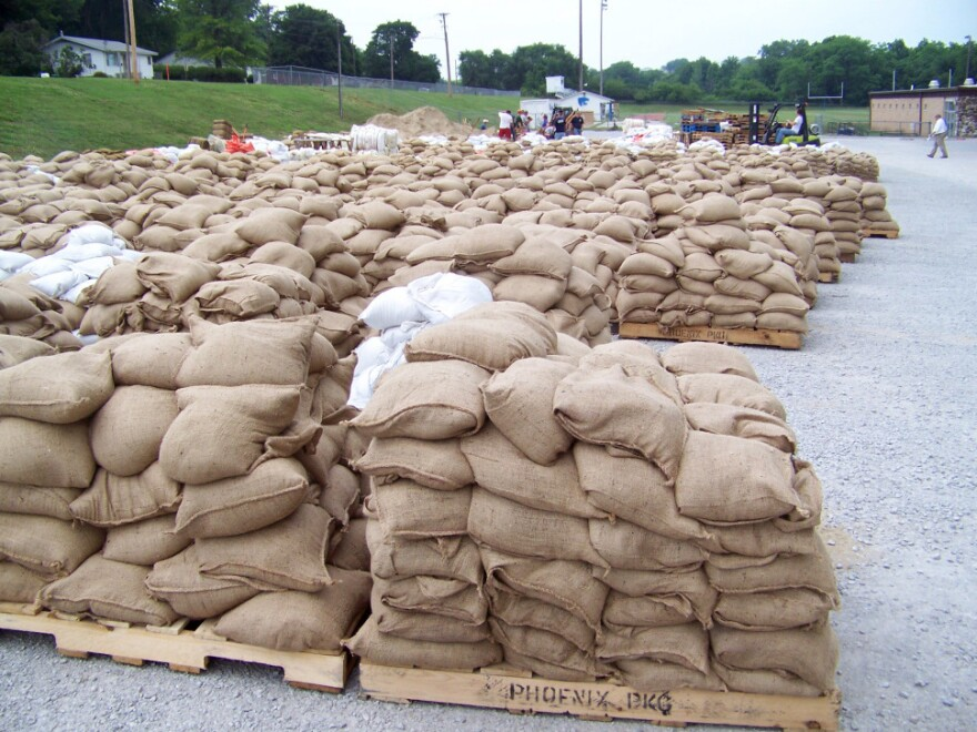 Filled sandbags are ready for deploying amid efforts to protect the small town of Hamburg, Iowa, from encroaching Missouri River floodwaters.