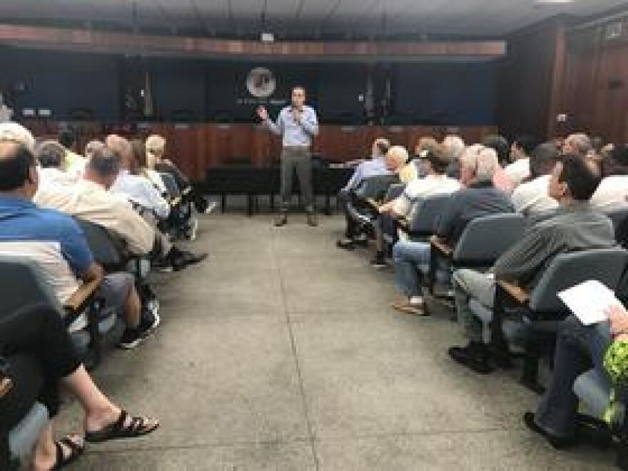 Fort Lauderdale Vice Mayor, Ben Sorensen, during the second community information session he organized about the process for the AIDS Healthcare Foundation development, on Jan. 7 2019. It was standing room only.