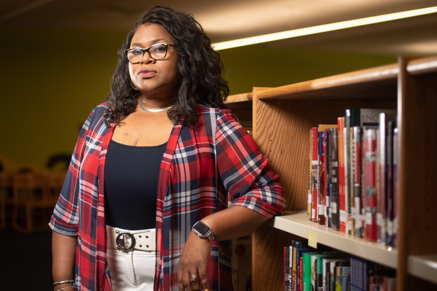 Christina Sneed poses for a portrait on August 11, 2021 at University City High School in University City, Missouri.