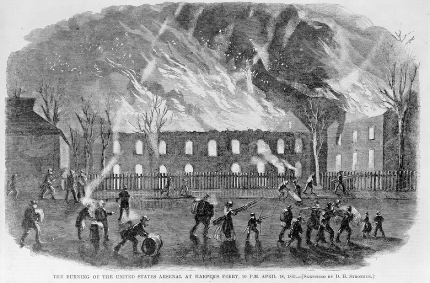 The burning of the United State Arsenal at Harpers Ferry, 10 p.m. April 18, 1861