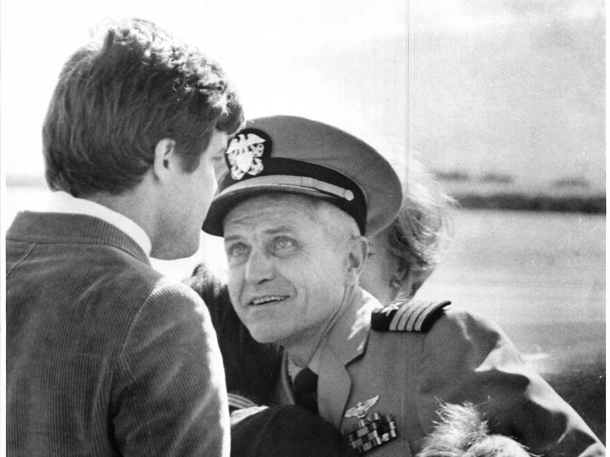 Jim Stockdale greets his father, Navy pilot and then-Capt. James B. Stockdale, at Miramar Naval Air Station on Feb. 15, 1973.