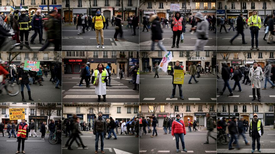This collage of photographs depicts a slew of demonstrators who turned out Thursday to protest the pension reforms proposed by the French government. Their group pictured includes educators, firefighters, government employees and transportation workers.