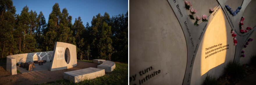 A memorial commemorating the lives lost in the 2009 bushfires was built atop a crest in Frank Thomson Reserve in Kinglake.