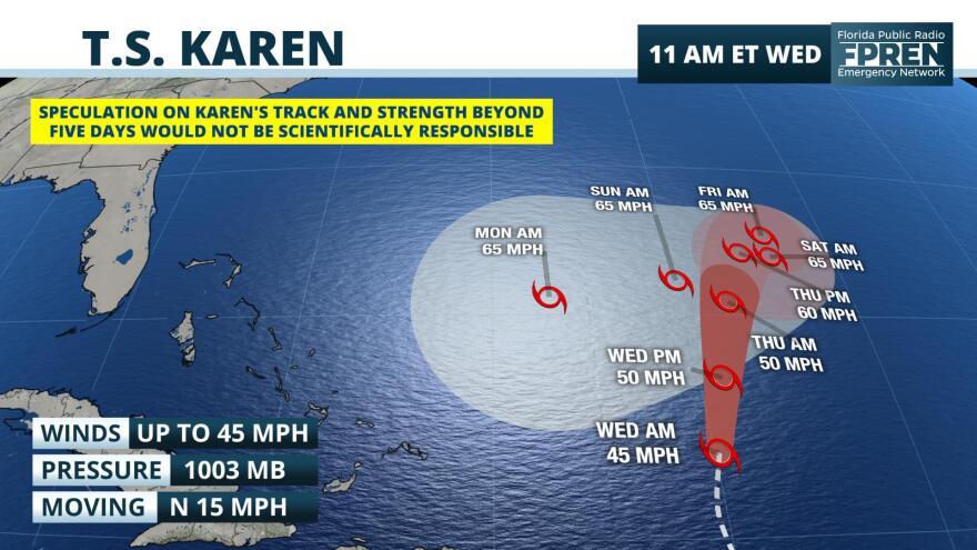 Tropical Storm Karen track