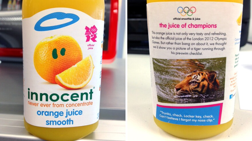 "On their bottles, Innocent declares itself the juice of champions — before adding, ""rather than bang on about it, we thought we'd show you a picture of a tiger running through his pre-swim checklist."" The drinks are a welcome sight at the Olympic media center."