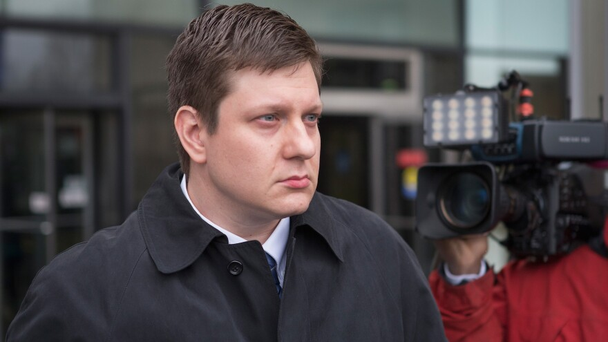 Chicago police officer Jason Van Dyke leaves the Criminal Courts Building after pleading not guilty to first-degree murder charges related to the shooting death of 17-year-old Laquan McDonald on December 29, 2015, in Chicago. The police superintendent is now moving to fire Van Dyke and four other officers, who are accused of making false statements about the shooting.
