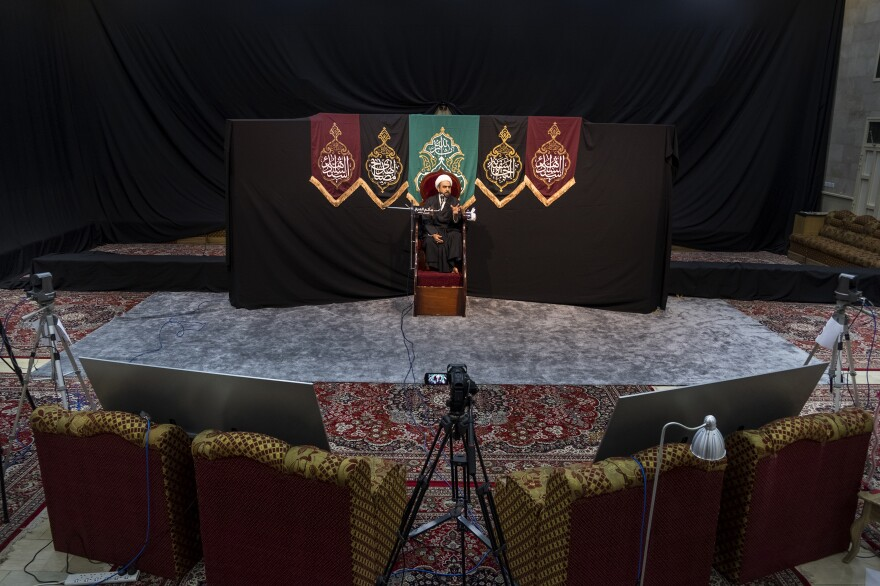 Under normal circumstances, the annual commemoration of Imam Mousa Al Kadhem, the seventh Shia Imam, would take place in a packed <em>matam</em>, or congregation hall. Instead, this year's sermon was live streamed to over 800 people in Bahrain and abroad. <em>March 19. Al Markh.</em>