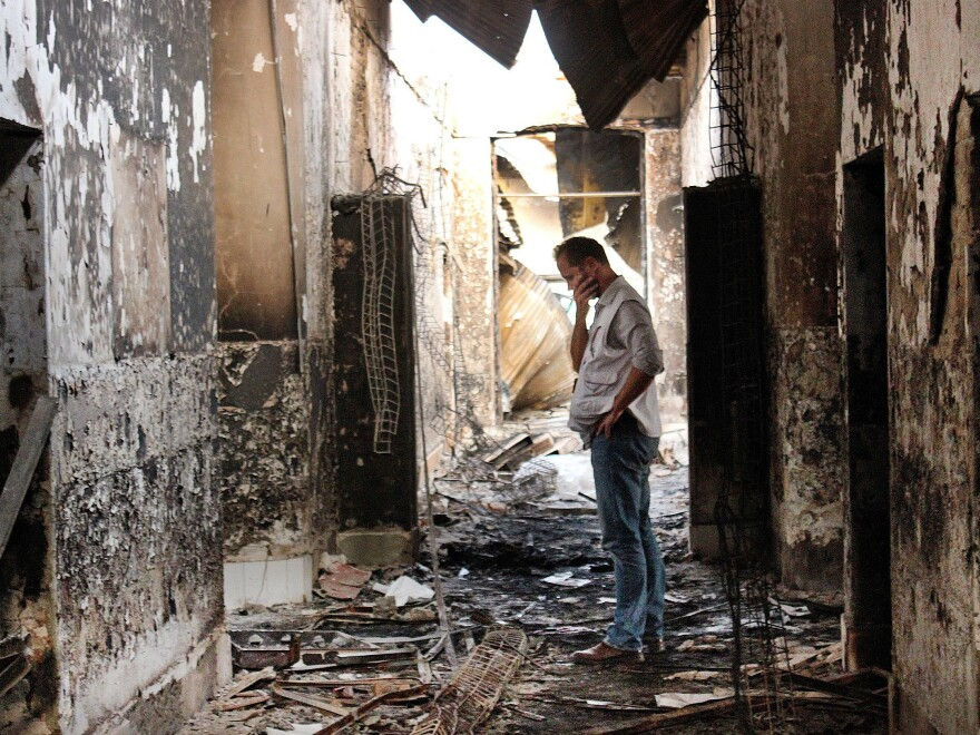 An October 2015 photo inside the remains of a Doctors Without Borders hospital after it was hit by a U.S. airstrike in Kunduz, Afghanistan. The organization is planning to reopen the hospital and has met with the U.S. military about preventing future attacks.