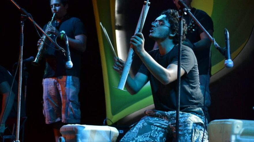 Noor Noor performs with his band El-Zabaleen, which makes many of its instruments out of recycled materials.