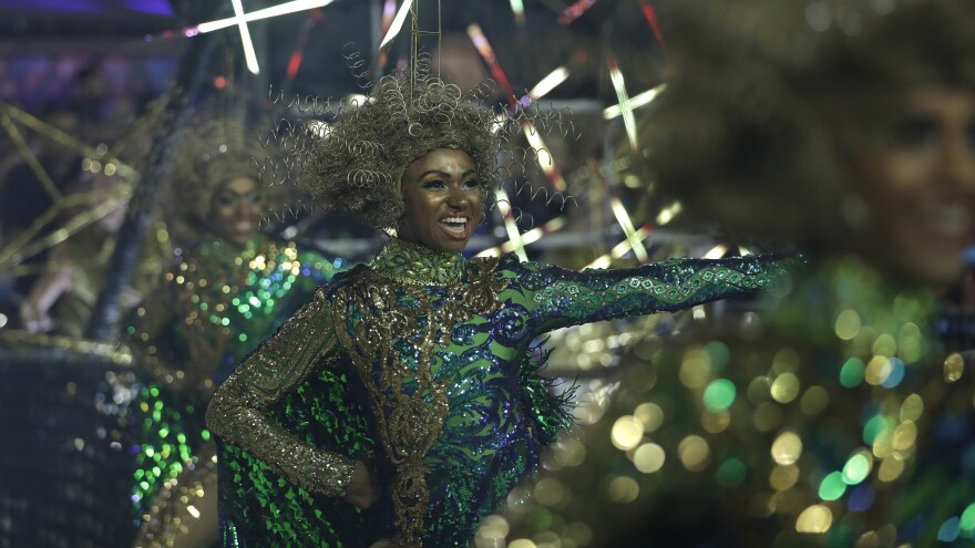 Dancers partake in the Carnival celebrations earlier this year at the Sambadrome in Rio de Janeiro.