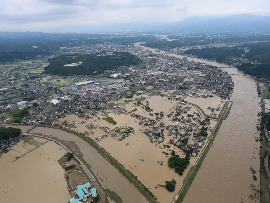 Heavy rain has flooded in Hitoyoshi, Kumamoto prefecture in Japan on Saturday.
