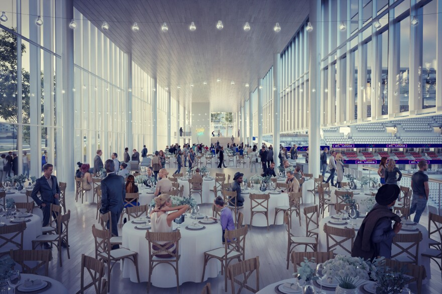 A rendering shows the stadium's south bar when used in a reception setting.  10/31/19
