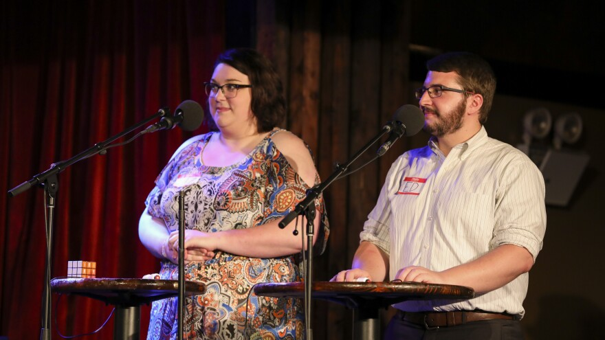 Contestants compete in the Final Round on Ask Me Another at the Bell House in Brooklyn, New York.