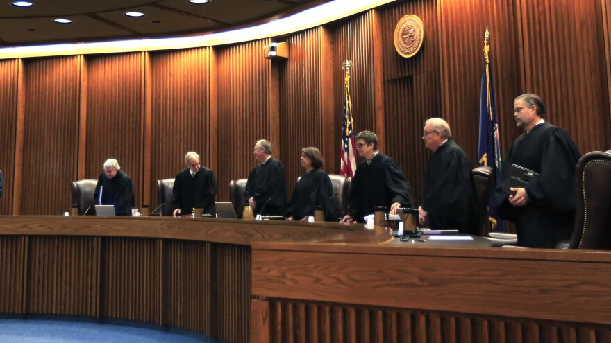 Justices in the Kansas Supreme Court, seen here in a photo from 2015, say the state's funding for public education has fallen far below recommended levels.
