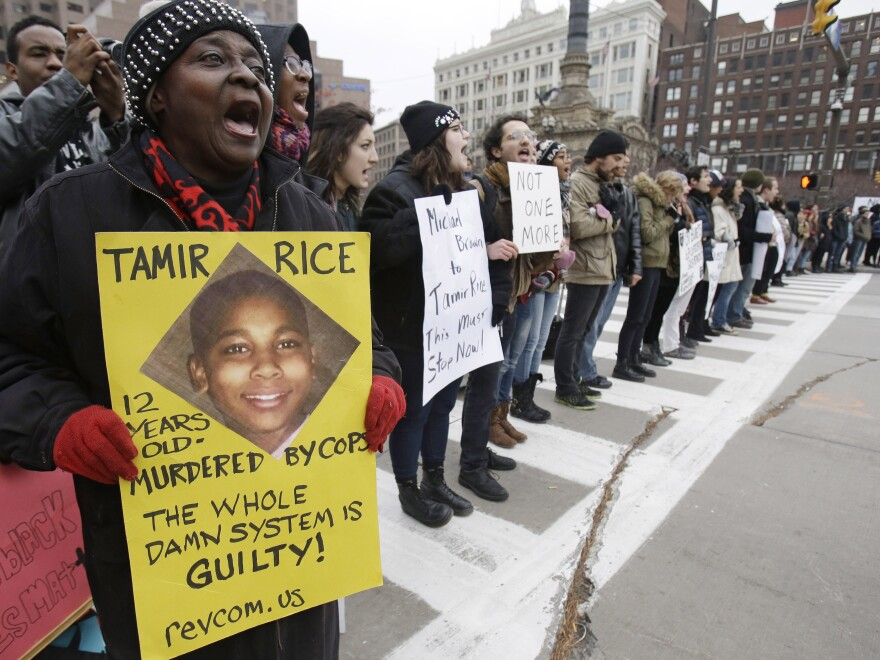Demonstrators block Public Square in Cleveland on November 25, 2014, during a protest over the police shooting of 12-year-old Tamir Rice.