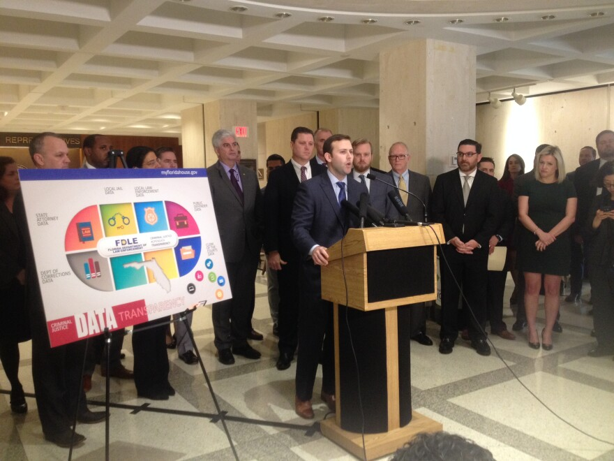 Rep. Chris Sprowls (R-Palm Harbor) speaking during a Wednesday press conference about his criminal justice data bill.