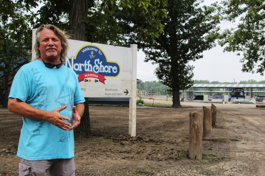 Richard Luttrell, owner of North Shore Marina in St. Charles, leases two parcels of flood-prone land from the county. Local officials demolished homes on the land through FEMA's voluntary buyout program.