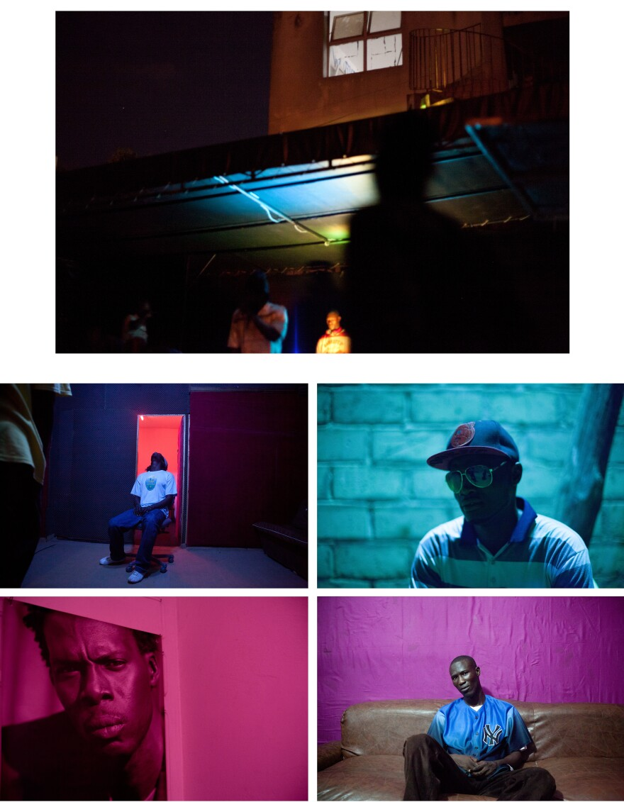 Clockwise from top left: A rapper takes a break at the Africulturban community center. Too Black, who also goes by The Lion of the Desert, waits for an outdoor show to begin. Alassane Ba is a producer and a rapper. A poster of Matador, one of Senegal's most successful rappers, hangs on a wall outside the studio at Africulturban.