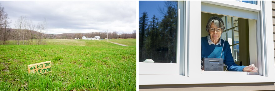 Left: A homemade sign of encouragement dots the landscape near Kiss the Cow Farm in Barnard. Right: Sophia Stone pictured at her home in Barnard.