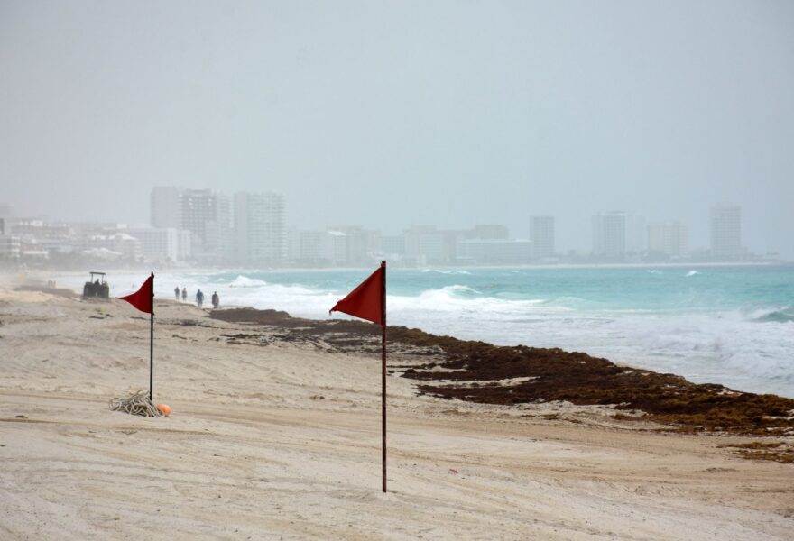 View of a cloud of Saharan dust over a beach in Cancun, Quintana Roo state, Mexico.