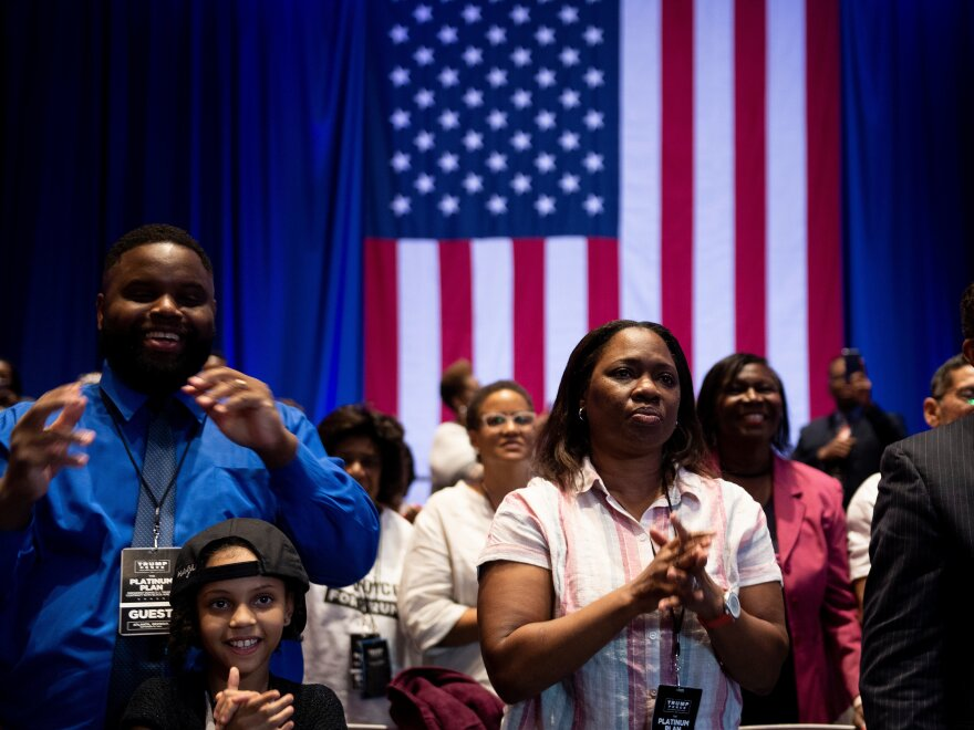 Supporters listen as President Trump unveils his plan for Black Americans at an event in Atlanta last month.