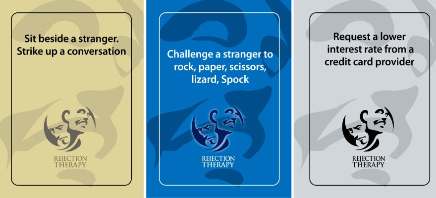Cards from the Rejection Therapy game.