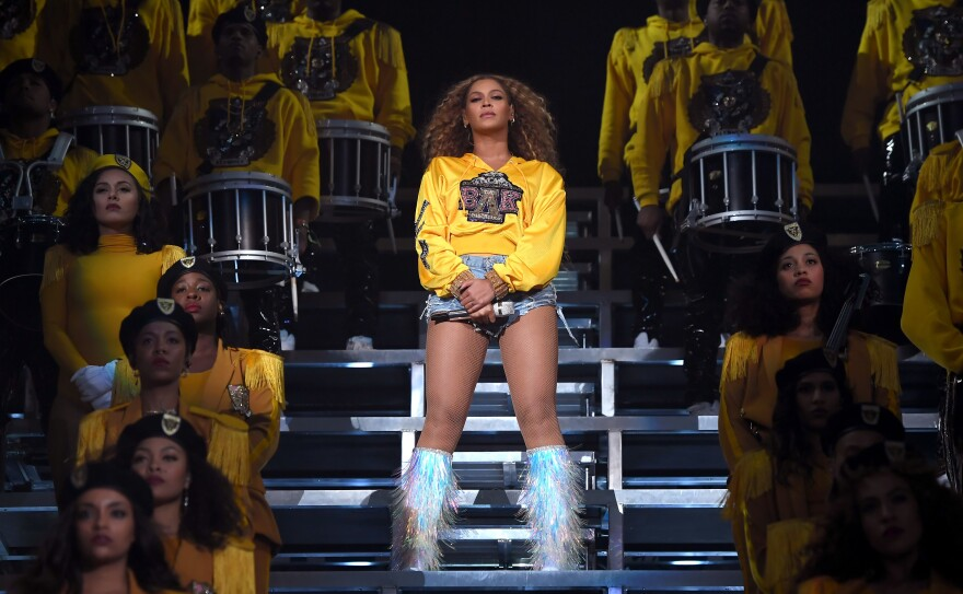 "Beyoncé performed ""Lift Every Voice and Sing"" during her set at the 2018 Coachella Valley Music and Arts Festival in April."