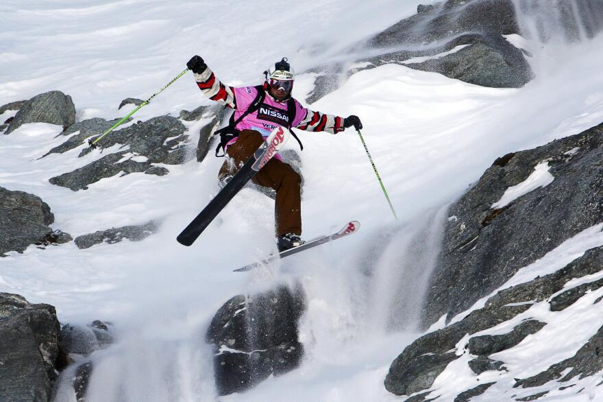 JT Holmes competes during the 2009 Xtreme freeride contest in Verbier, Switzerland.