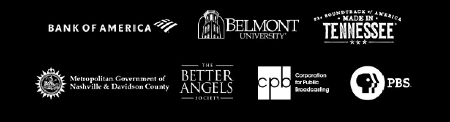 "An image of the sponsors of the film ""Country Music: A Film By Ken Burns."""