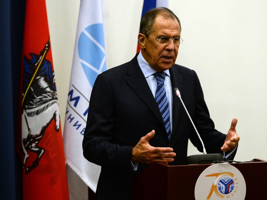 "Russian Foreign Minister Sergei Lavrov called Monday for a cease-fire in Ukraine, but demanded that Ukrainian troops leave positions from which they can ""harm the civilian population."" His comments come ahead of talks in Minsk, Belarus, involving Ukraine, Russia, Russia-backed separatists and international monitors."