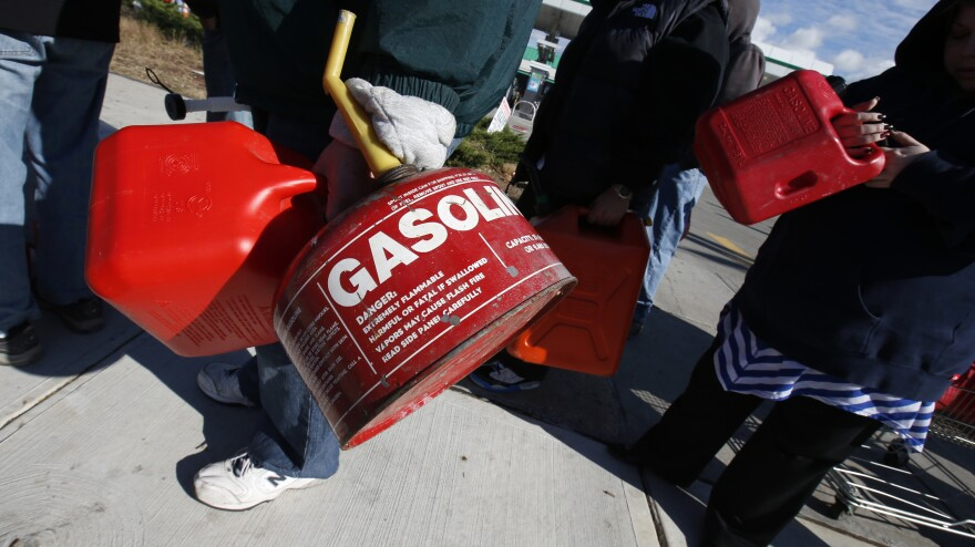 Rather than sit in their cars, many people on Staten Island today lined up at stations with gas cans — hoping to get a few gallons before supplies ran out.