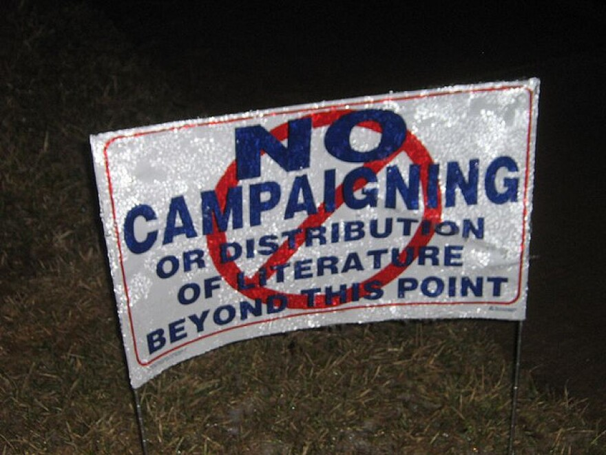 """""""No Campaigning Beyond This Point,"""" a sign from the 2008 election in Ohio. voting voters"""