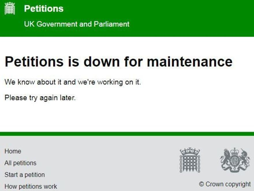 A call to cancel Brexit is drawing the most support the U.K. government has ever seen for an online petition, causing the Parliament-run website to crash repeatedly on Thursday.