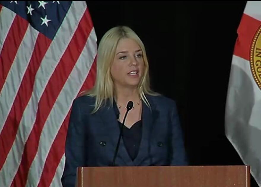 Florida Attorney General Pam Bondi speaking during the 2017 Human Trafficking Summit.