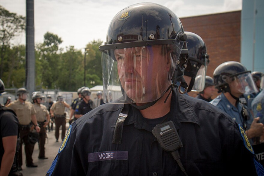 Chris Renteria's portrait of an Missouri State Highway Patrol trooper assigned to protest detail re: Ferguson