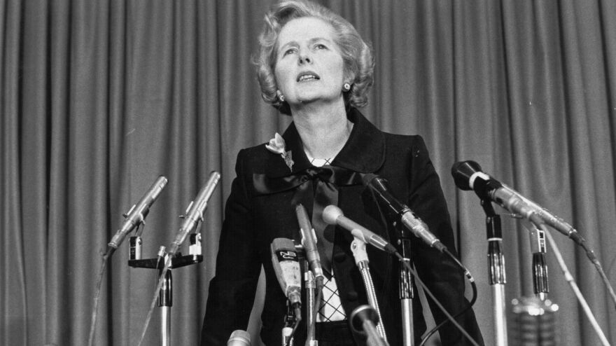 Margaret Thatcher at a press conference in 1975.