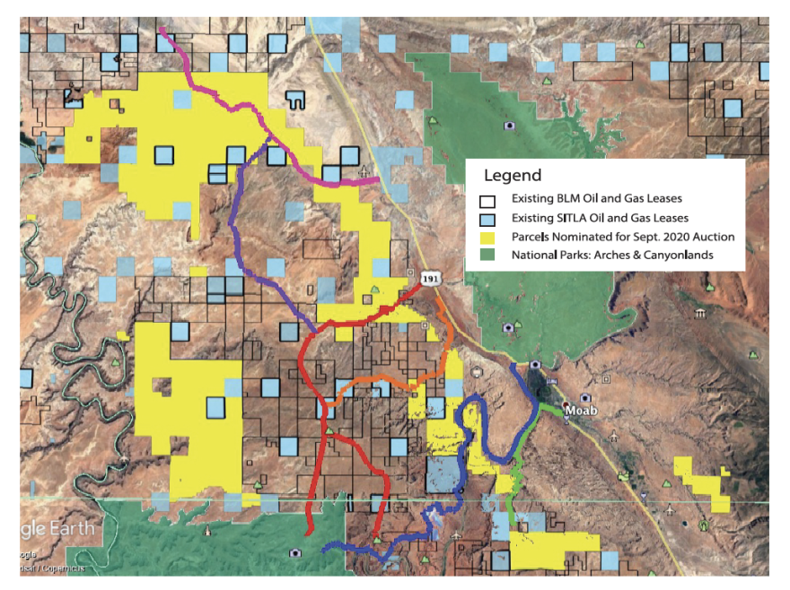 Color-coded squiggles run through the land that is already leased, as well as land that is proposed.