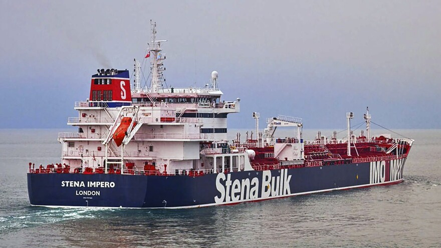 """The owners of the Stena Impero say the tanker """"was approached by unidentified small crafts and a helicopter"""" as it tried to pass through the Strait of Hormuz on Friday."""