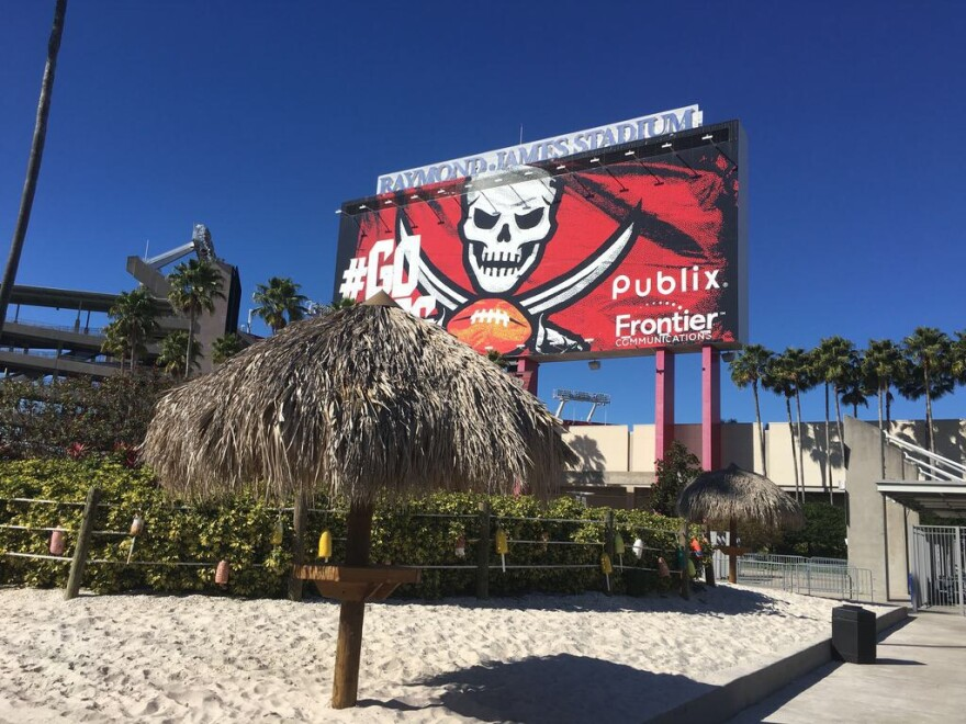 Billboard and parking garage of Raymond James Stadium