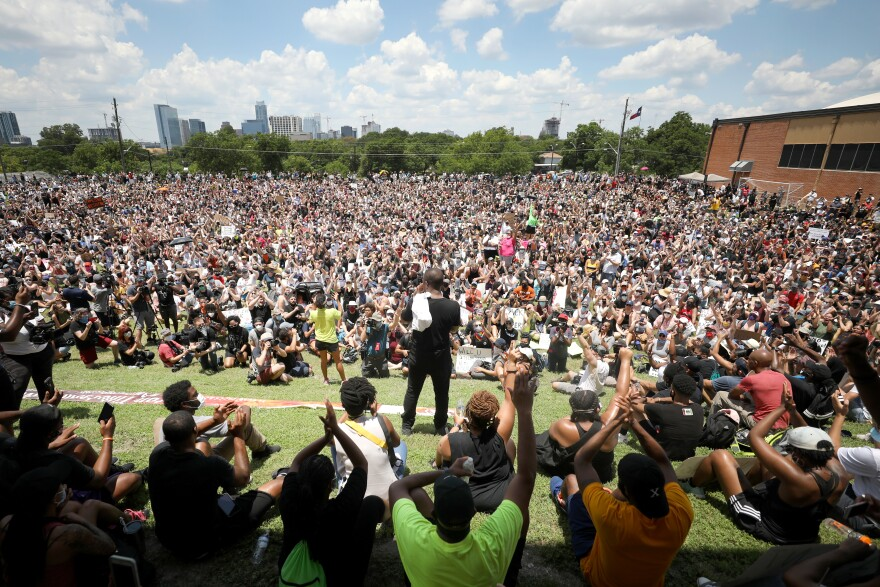 Thousands rallied at Huston-Tillotson University in East Austin to protest police violence on June 7, 2020.