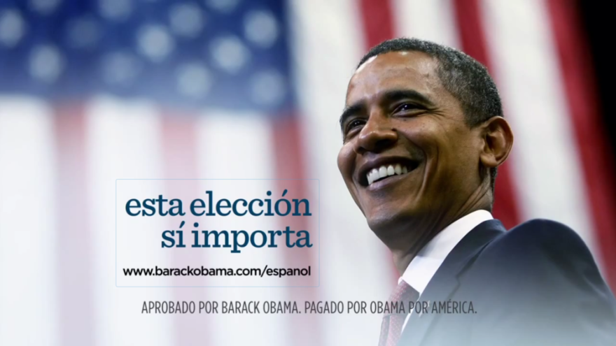 """President Obama's re-election campaign has released four new Spanish-language ads, each ending with the phrase: """"Esta eleccion si importa,"""" which in English means, """"This election does matter."""""""