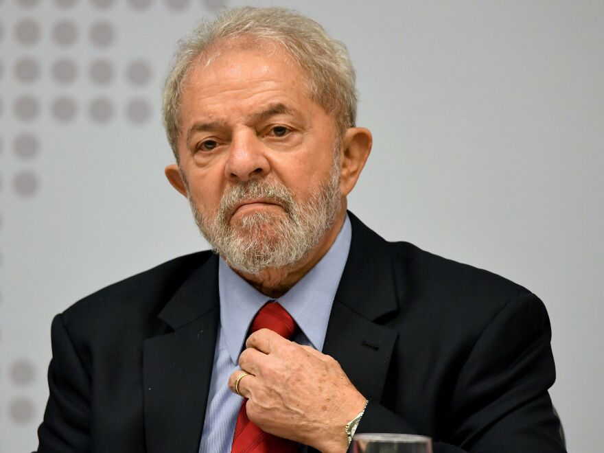 Former Brazilian President Luiz Inacio Lula da Silva speaks during a seminar earlier this year in Brasilia.